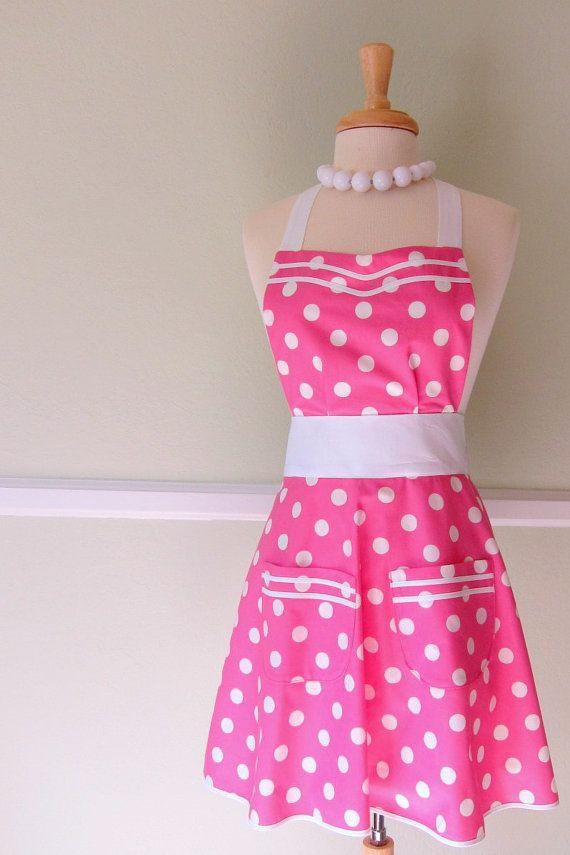 Womens Pink Polka Dot Retro Apron by ImaginAprons on Etsy,