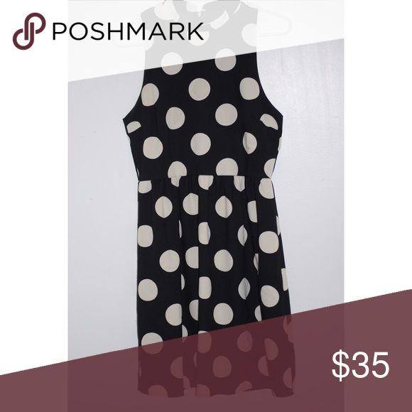 Black and White High Neck Dress Black with white polka dot, high neck dress. Beautiful on. Only worn once. Want more pics? Let me know! OBO Everly Dresses