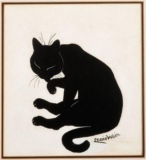 Black cat washing, by Louis Wain