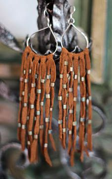 Suede fringe earrings w/Japanese raku beads...