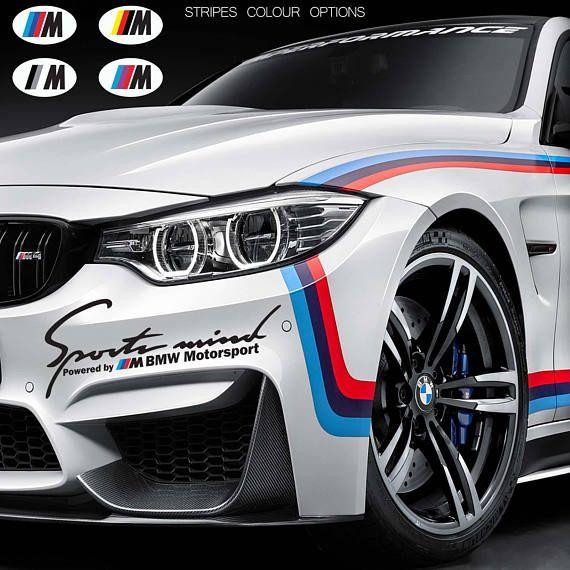 2 x sports mind powered by m for bmw motorsport door car vinyl stickers decals