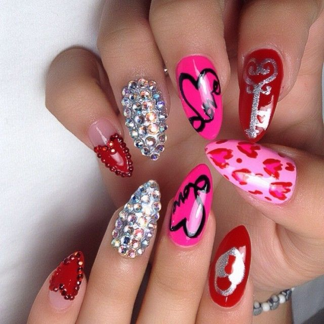 ❤ ❤ valentines day nails