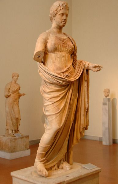 GREEK ART. GREECE. IV century B.C. THEMIS statue, goddess of justice. Penteli marble. It was sculpted by CHAIRESTRATOS OF RHAMNOUS and was dedicated to Themis by Megakles. Dated around 300 B.C. Located in Rhamnous (Attica). National Archaeological Museum. Athens.