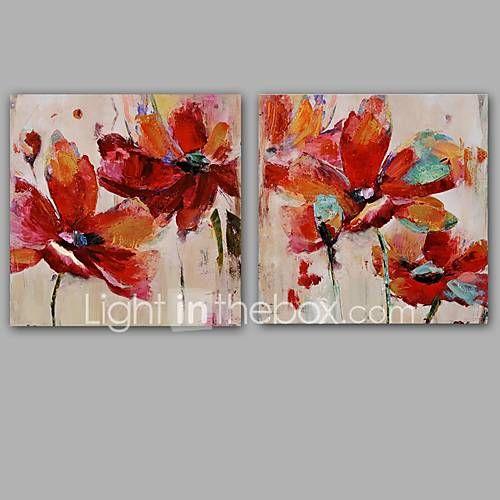 Pictat manual Abstract / Floral/Botanic Picturi de ulei,Modern / Clasic Două Panouri Canava Hang-pictate pictură în ulei For Pagina de 5421119 2017 – €107.08