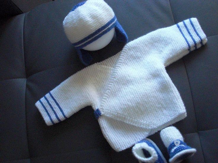 Ensemble Bébé Layette 1 mois BLANC et BLEU : Mode Bébé par coeur-de-layette