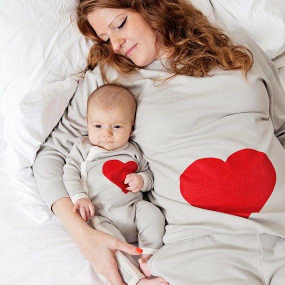 Heart print pyjamas for mum and baby