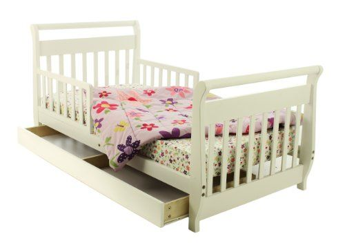 Has your toddler out grown the crib? Here is the next step for bedding - a toddler bed. It sits low to the floor so child can get in and out easily. It also has side safety rails to prevent rolling out of the bed. And, a nice storage drawer below bed. Dream On Me Toddler Bed with Storage Drawer – White |