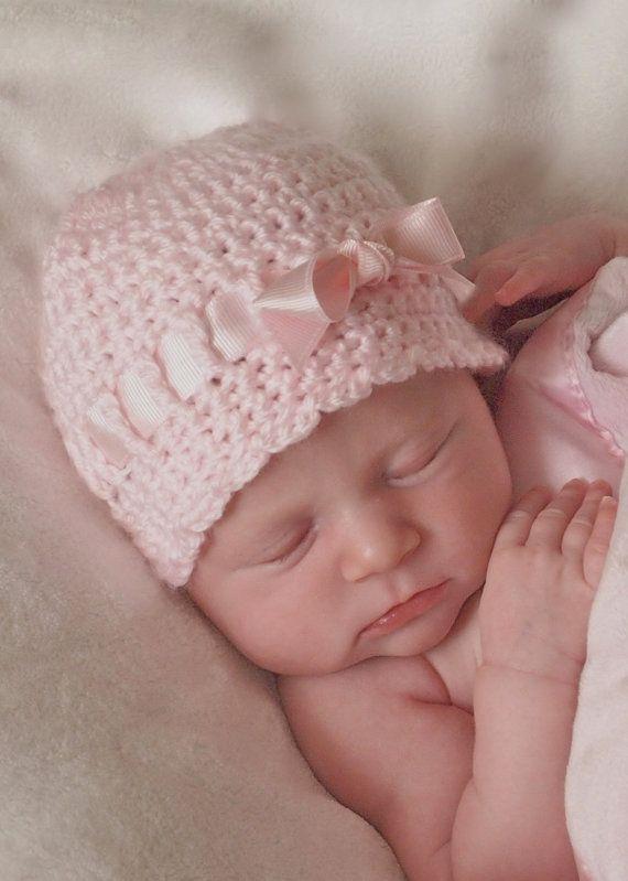 Baby Girl Crochet Hat  Newborn Beanie Pink Ribbon by BabyGraceHats