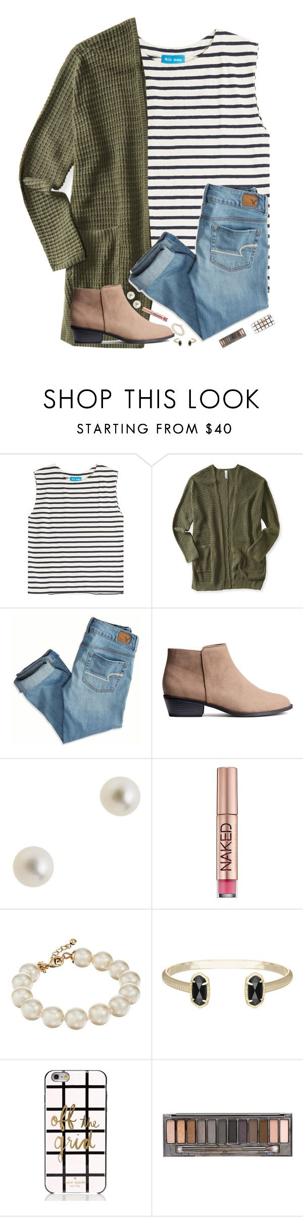 """""""Going to get lunch now❤️"""" by hgw8503 ❤ liked on Polyvore featuring M.i.h Jeans, Aéropostale, American Eagle Outfitters, J.Crew, Urban Decay, Kate Spade and Kendra Scott"""