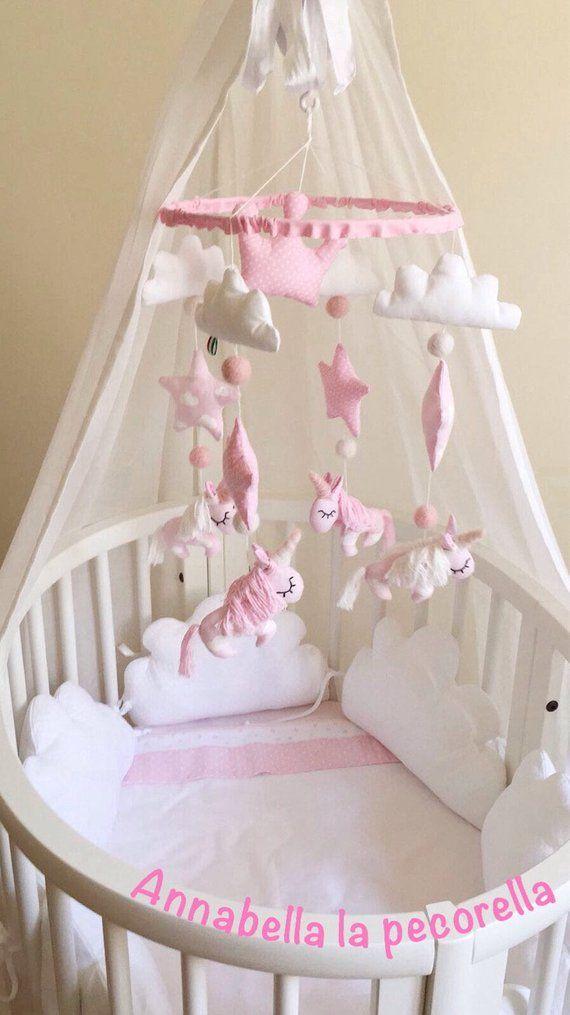 Personalisierte rosa Kinderzimmer Kinderbett Mobile UNIQUE Einhorn Übergabe  benutzerdefinierte Kindergarten mobile für Baby Mädchen Prinzessin Einhorn  ... eda65c5146a84