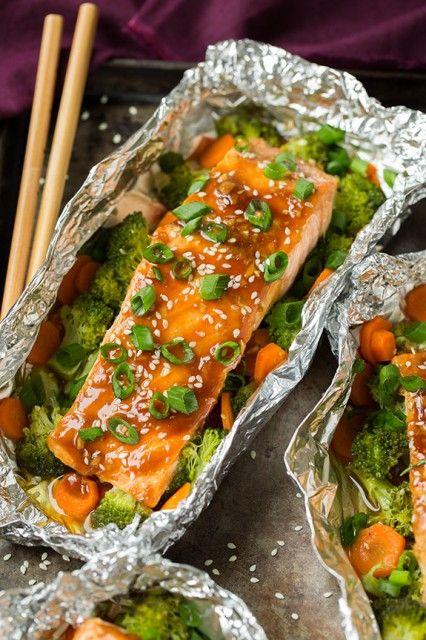 Honey Teriyaki Salmon & Veggies in Foil #greenonions #ginger