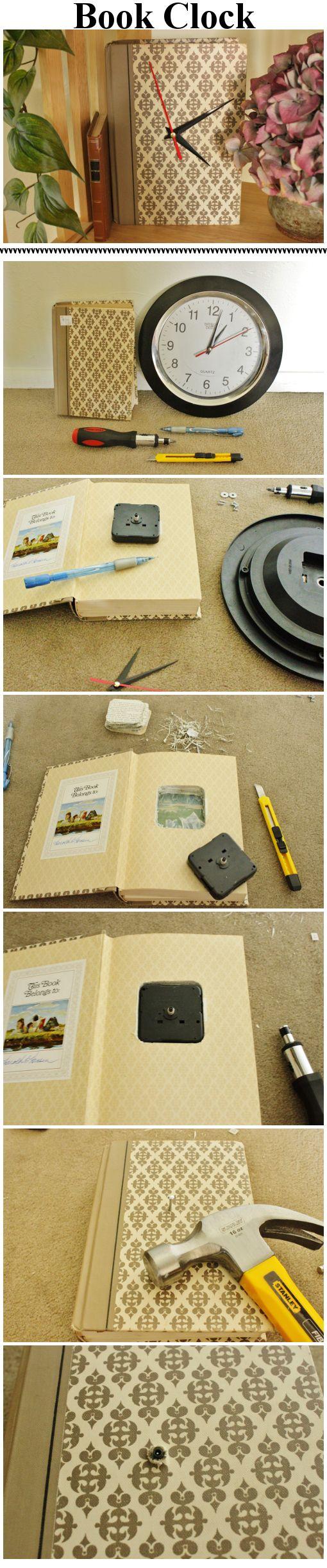 Dollar Store clock and DI book combine into a custom DIY clock for $2