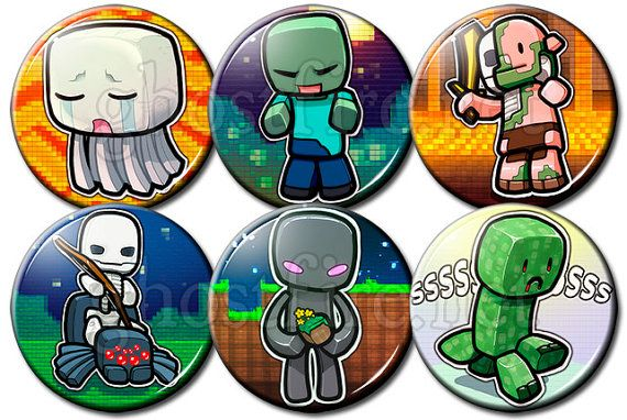 "Minecraft Chibi 1.75"" Pin-Backed Buttons - Set of 6"