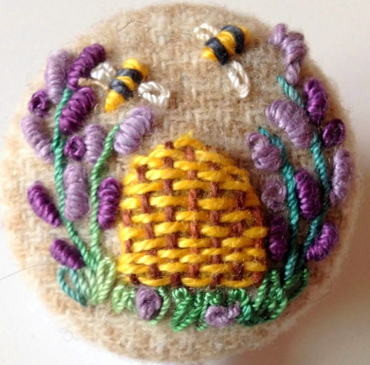 covered button with stitching embellishment