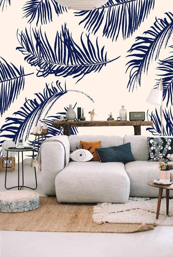 Palm Leaves Watercolor Wallpaperpeel And Stick Wall Etsy Stencil Painting On Walls Painting Wallpaper Watercolor Wallpaper