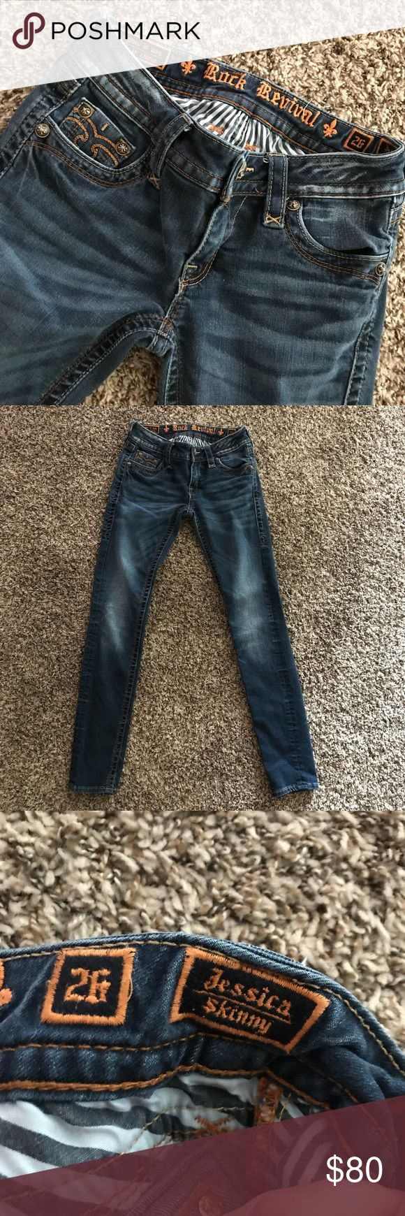 Rock Revival Skinny Jean Skinny leg. 26x33. Amazingly soft denim. Minimal detailing. Very classic jean. Darker wash. Maybe worn 10 times in the couple years that I've had them. They are in almost perfect condition. No stains, tears or defects. All hardware is in place. ✨Will consider offers, NO TRADES ✨ Need gone asap Rock Revival Jeans Skinny