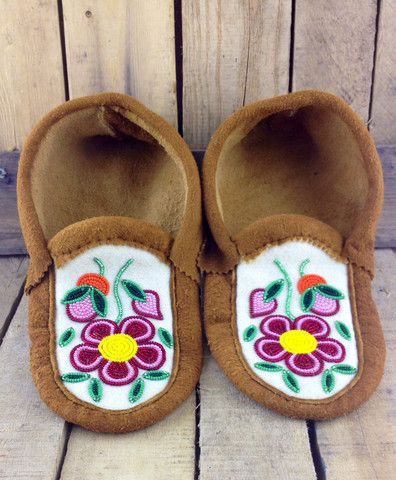 Red and Pink Beaded Flowers on Hand Tanned Moose Hide Moccasins