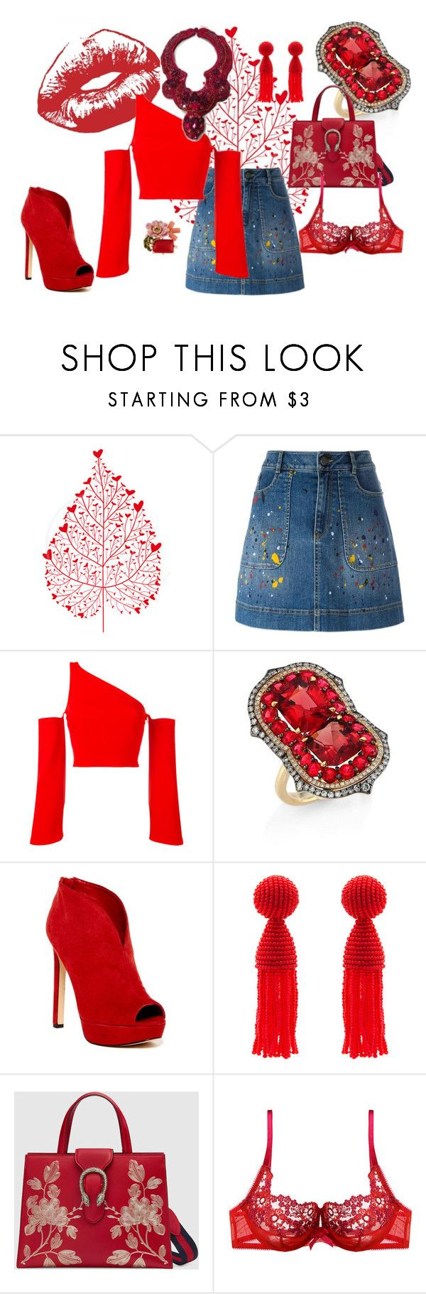 """ruby red"" by mimmiandkinkistatementjewelry ❤ liked on Polyvore featuring Alice + Olivia, Thierry Mugler, Ivy, Nine West, Oscar de la Renta, Gucci, Gossard and Les Néréides"