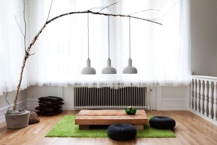 Amazing DIY Tree-Like Arc Floor Lamp: Decor, Pendants Lamps, Ideas, Lights Fixtures, Living Room, Trees Branches, Floors Lamps, Pendants Lights, Diy