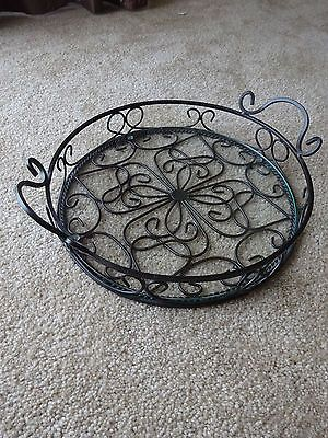 Southern-Living-At-Home-Jamestown-Iron-Glass-Tray-Round-Retired-Estate-Iron