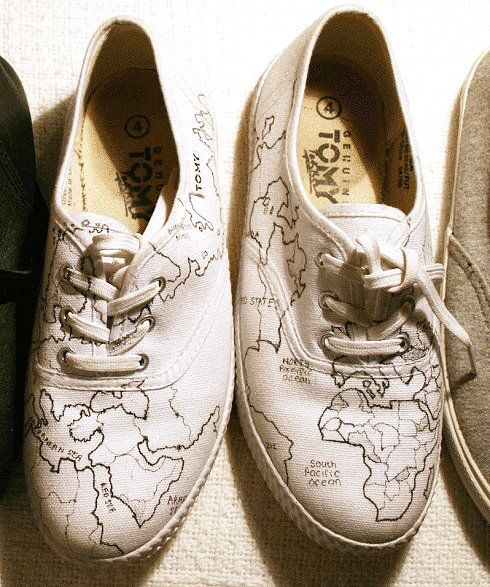 """Hit LIKE for these wicked, custom """"world map"""" Tomy's and tell us where your takkies have taken you recently?"""