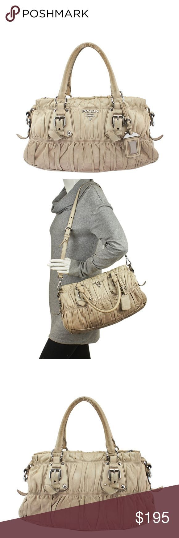 Tendance salopette 2017  Prada BN1407 Beige Leather 2-Way Satchel 138104 Designer: Prada Color: Bei