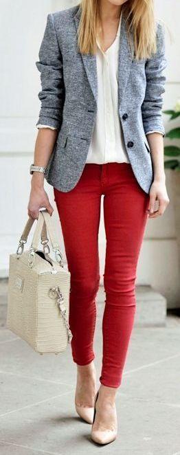 red ankle pants + tweed blazer + nude wedges + cream blouse