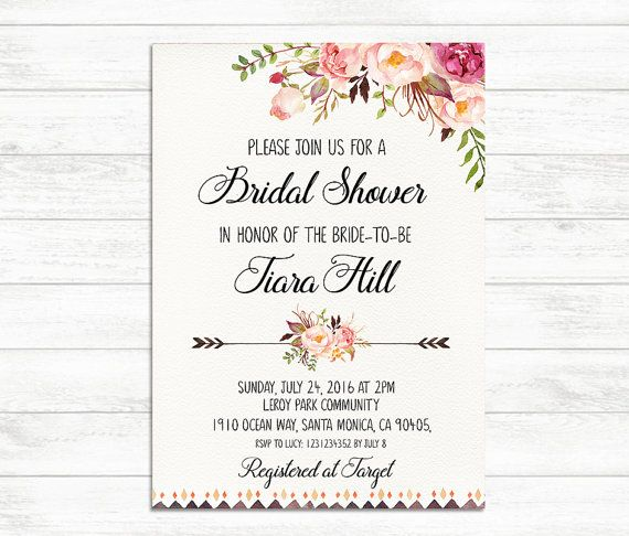 Floral Bridal Shower Invitation -  • 5 x 7 - Bridal Shower invitation (fits inside A7 envelope)  HOW TO PLACE YOUR ORDER • Once you have purchased this listing please provide us with the information you would like to have on your invitation. You can add the information in the Notes to Seller section. • Within 1-2 Business days you will receive a sample of your design. You have up to three revisions to make as many changes as youd like. • Once your final proof is approved you will receive the...