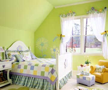 Limeade - Lime green and purple play host to perky floral murals and curtain hooks. The quilt acts as a blueprint for the entire color scheme. Discover more kids room decorating and organizing tips and ideas @ http://kidsroomdecorating.net