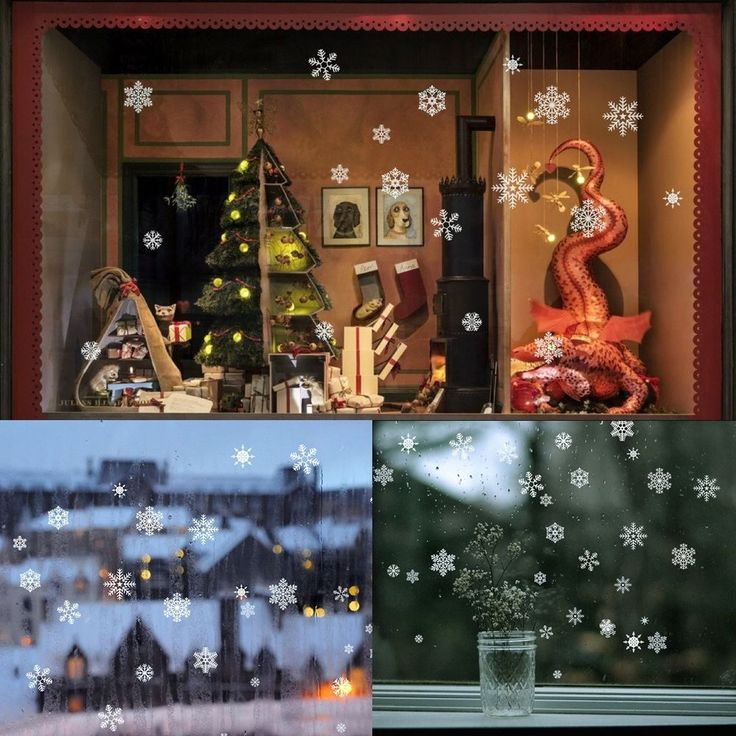 85 Snowflake Window Clings Christmas Window Decorations 34 Different Snowflakes