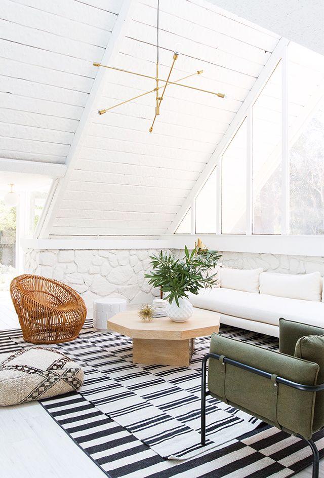 Sarah Sherman Samuel's remodeled Palm Springs A-frame living room.// sarah sherman samuel
