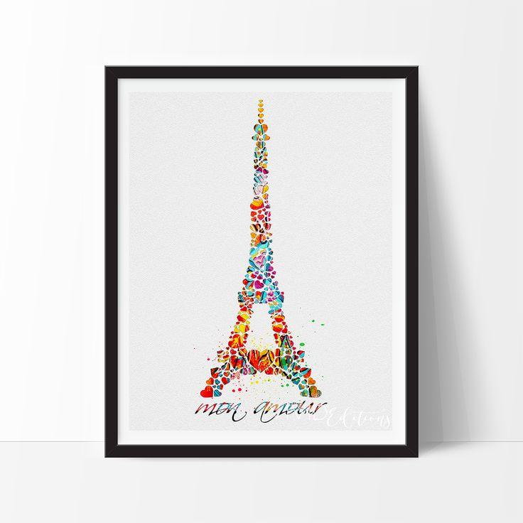 Eiffel Tower Paris Watercolor Art - VIVIDEDITIONS