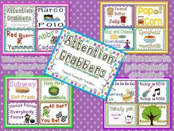 I have put together 15 fun classroom attention grabbers, great to use for classroom management.   Each attention grabber comes on one page. I also made smaller size cards, 4 on each page to use if you wanted something smaller!  If you have any questions, please ask! Thanks:) Tonya