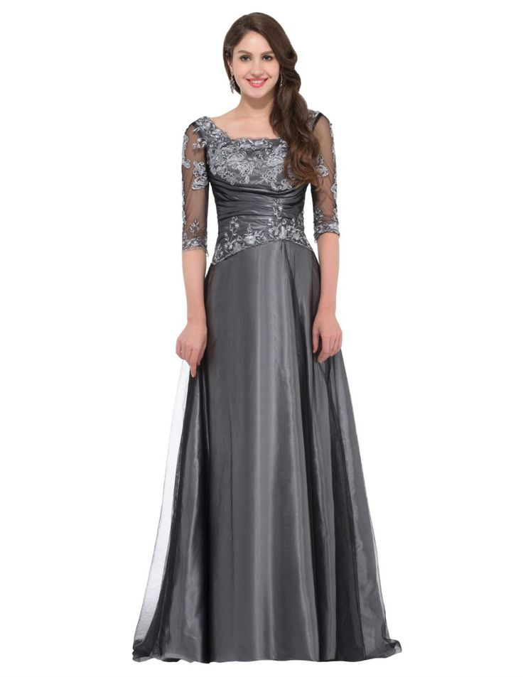 Elegant-Sexy-Grey-Half-Sleeve-Evening-Long