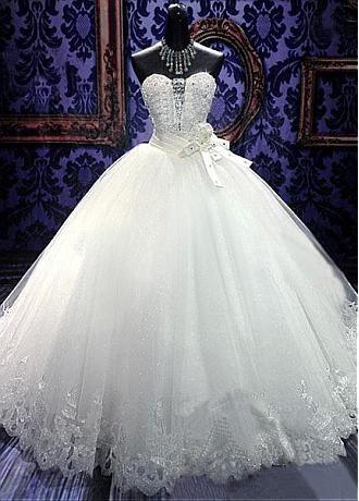comprar Vestido de boda del vestido de bola de Tulle Impresionante Con  Listones y diamantes de