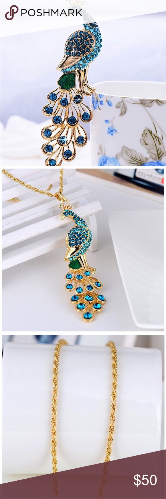 Peacock necklace!Beautiful 18K gold plated 18K Gold Plated Peacock Pendant Necklace With Crystal Mounted Glamorous reflections and adds a unique look to this necklace Gemstone is natural and may vary in color A perfect accessory to your outfit or as an appropriate gift used in wedding and engagement party or other occasions. Product information  Manufacturer	L&Q JEWELRY    Metal	brass-plated-gold  Diameter 2.70 centimeters Height	10.20 centimeters Width	2.80 centimeters Jewelry Necklaces