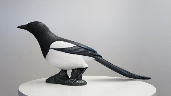 Magpie Bird Statue Hand Cast Resin Figurine by BirdMaker on Etsy