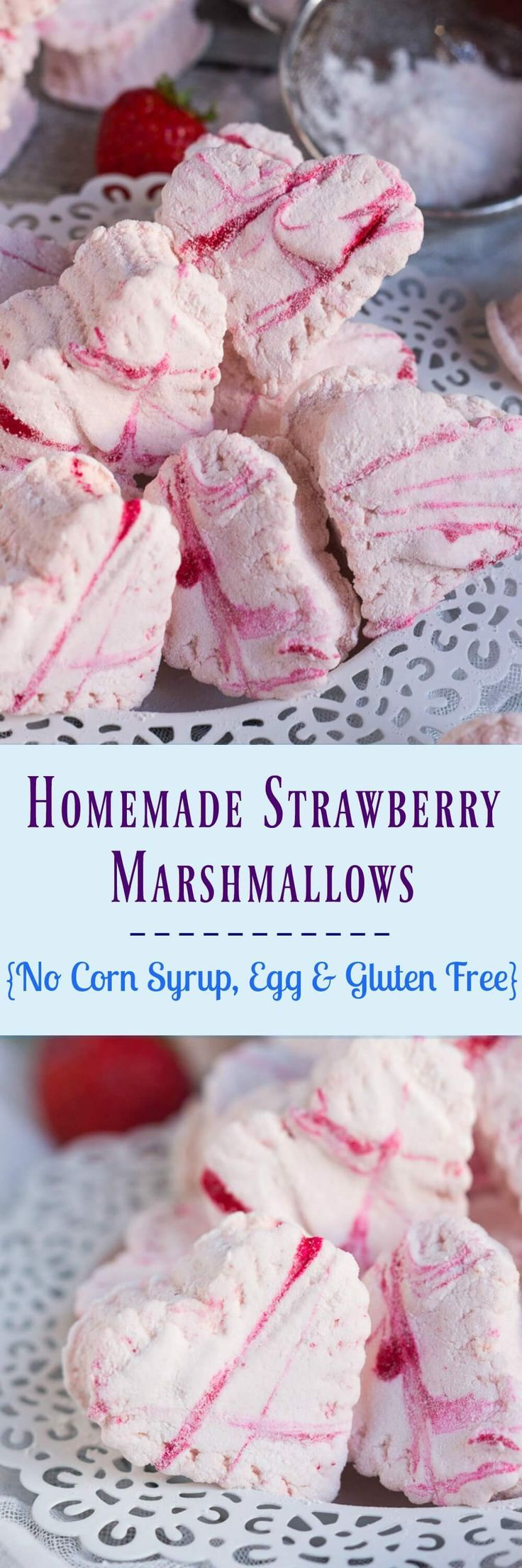 Homemade Strawberry Marshmallows, made with real strawberries, are so delicious you will find it hard to stop at one.  Valentines Day | No Corn Syrup | Egg Free | Dairy Free | Gluten Free
