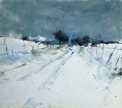 Hannah Woodman, 'Snow Study, Cornish Farm', pencil, oil and gesso on paper, 39 x 44cm