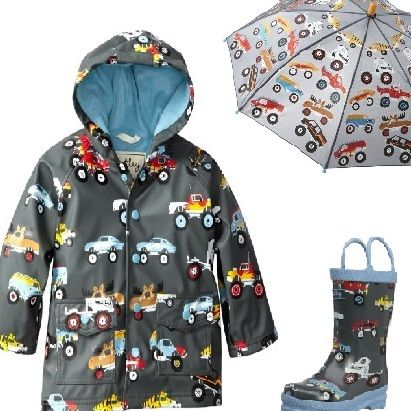 Toddlers rain gear with monster trucks printed on them. Do you know a little boy who loves monster trucks? If so, consider monster truck rain coat, rain boots, and umbrella as an idea for a Christmas gift or birthday present. Every toddler needs rain