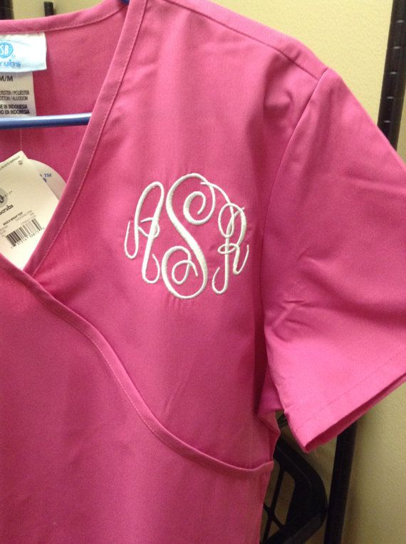 Monogrammed Scrub Tops in Mock Wrap Style or Unisex with Pocket. New with Tags on Etsy, $30.00
