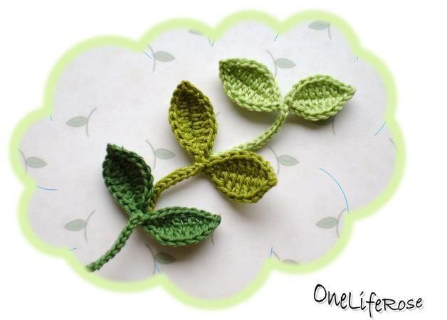 Gehäkelte Blätter Mit Stiel Gehäkelte Blätter Pinterest
