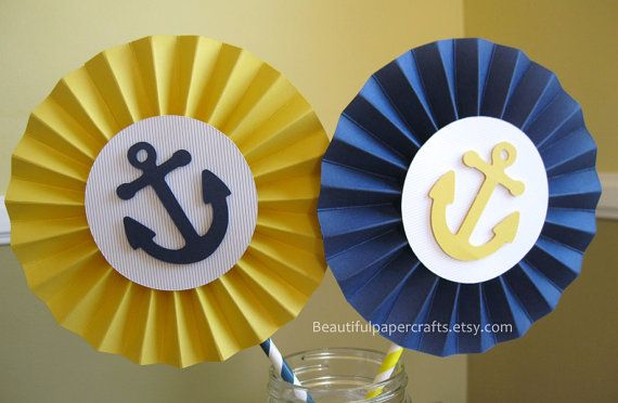 "2- 6"" Nautical Rosettes Centerpieces -Paper Fans - Nautical 1st Birthday Party Decor, Navy & Yellow Paper Rosettes,Candy Buffet Decorations"