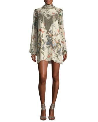 Through The Looking Glass Bell-Sleeve Floral-Print Silk Dress by Haute Hippie at Bergdorf Goodman.