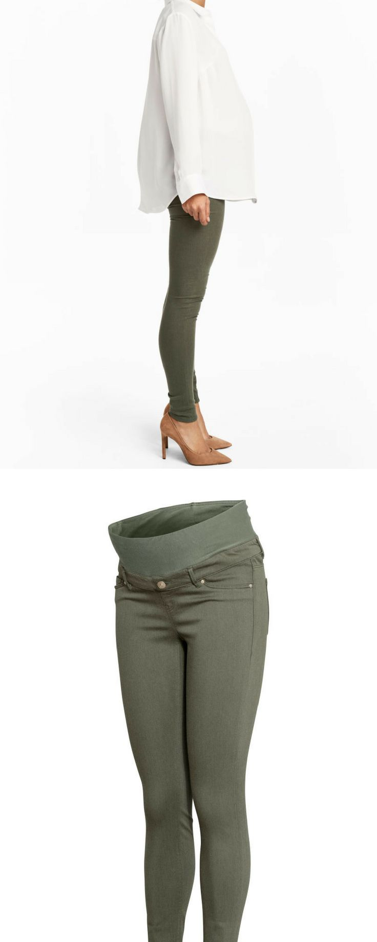 Did you know H&M has a maternity line? Get these super cute maternity skinnies for $34.99 | H&M MAMA Slim-fit Pants | maternity clothes | maternity outfit | maternity fashion | maternity style | maternity wardrobe | pregnancy | maternity pants | bump | #ad