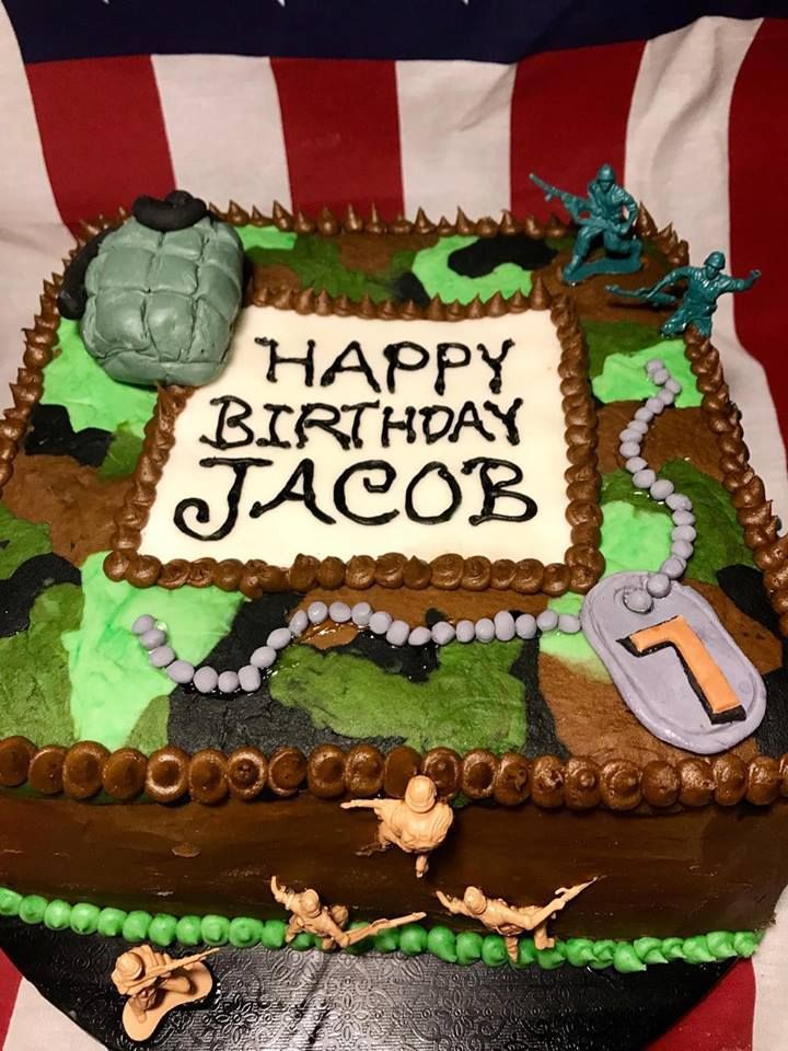 Enjoyable Buttercream Army Theme Cake With Fondant Decorations And Army Men Funny Birthday Cards Online Benoljebrpdamsfinfo
