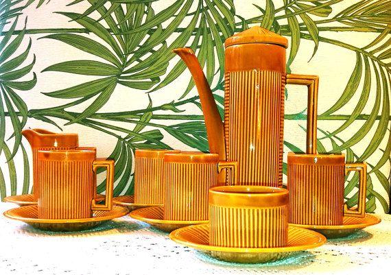 Mid century coffee set, tea set, Mid century modern MCM Tiki bamboo style, Vintage English Ellgreave Tiko coffee set, Tiki bar, Tiki mugs
