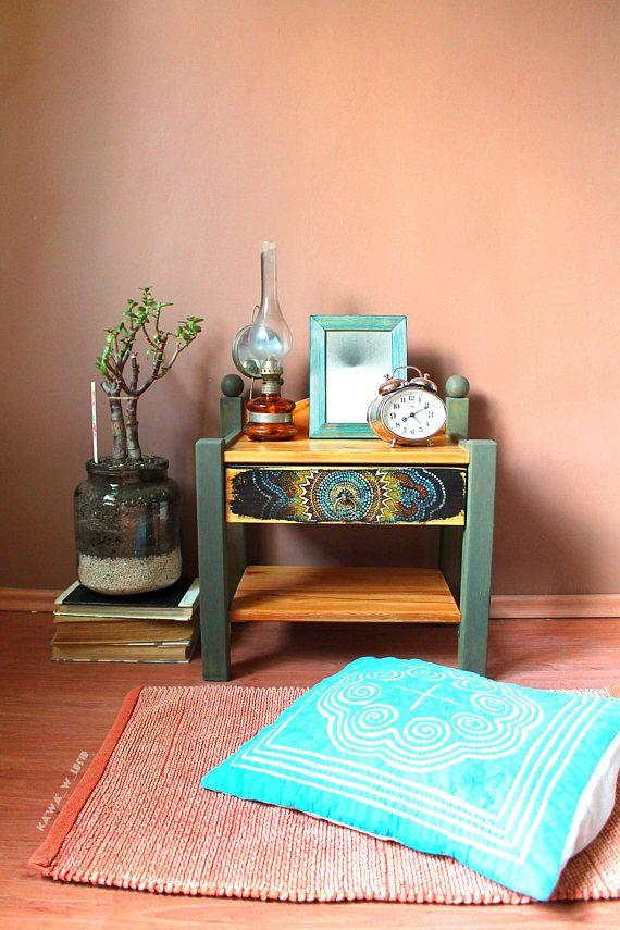 Nighstand Oriental Painting Bedside Cabinet Wood Handmade