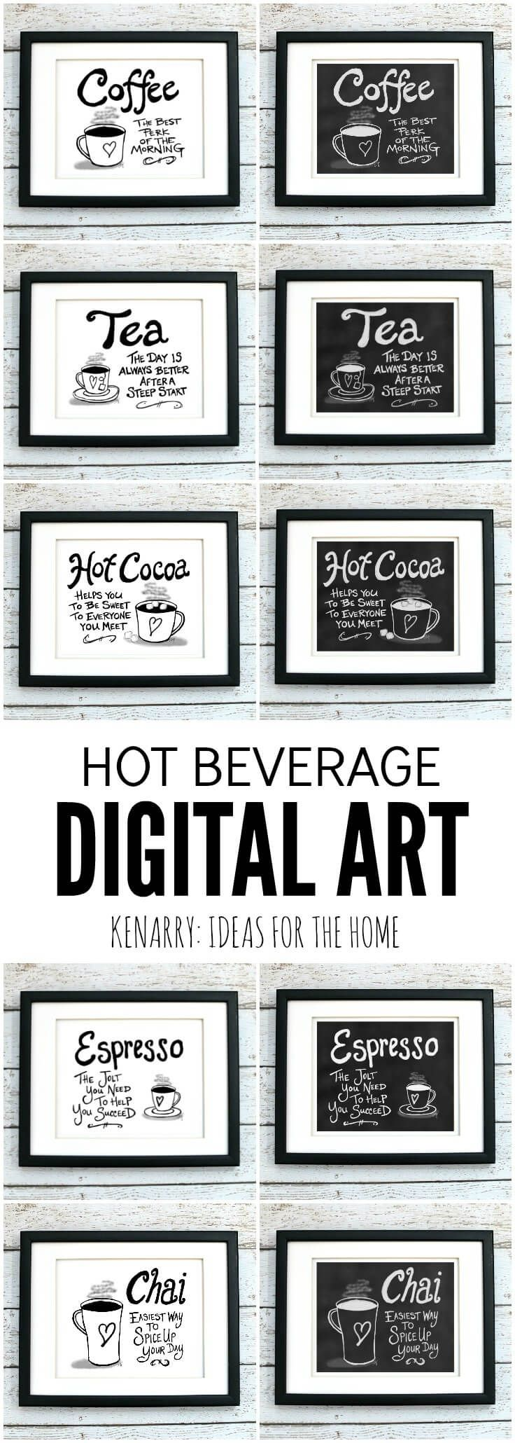 This digital printable coffee wall art would look so cute hung as kitchen prints, near a dining room or above a coffee bar to showcase your favorite hot beverage.