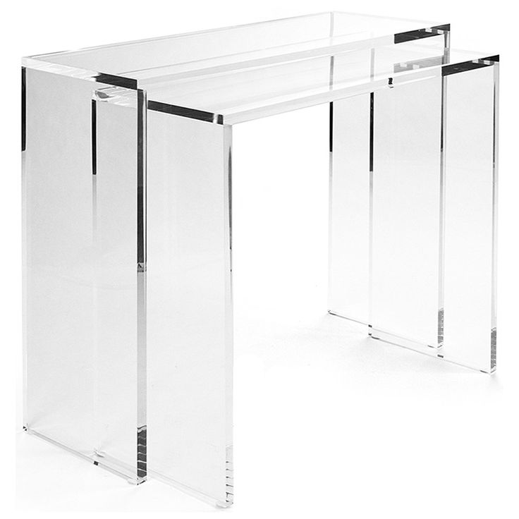 minimalism and glamour fuse to form the cleon small console table a rectangular form dazzles in interiors with a sleek transparent acrylic